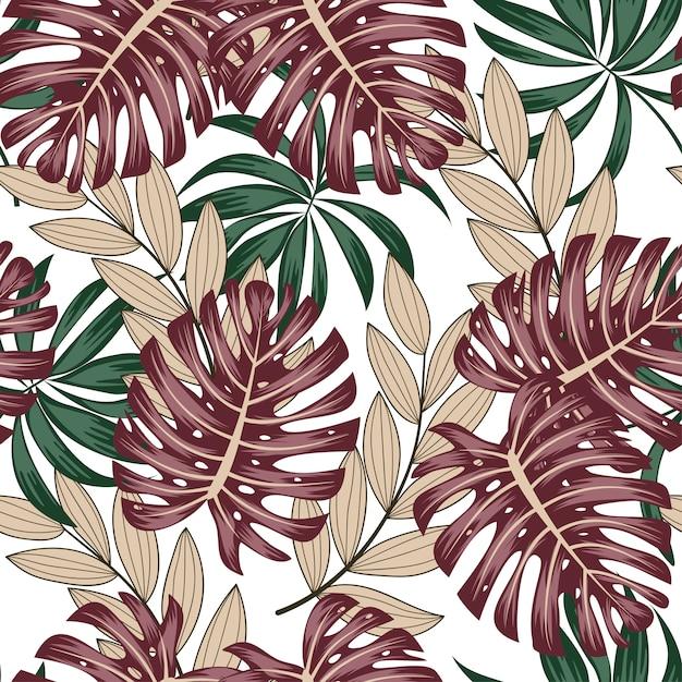 Motif Tropical Sans Soudure Botanique Avec Des Feuilles Et Des Plantes Lumineuses Sur Fond Blanc Vecteur Premium