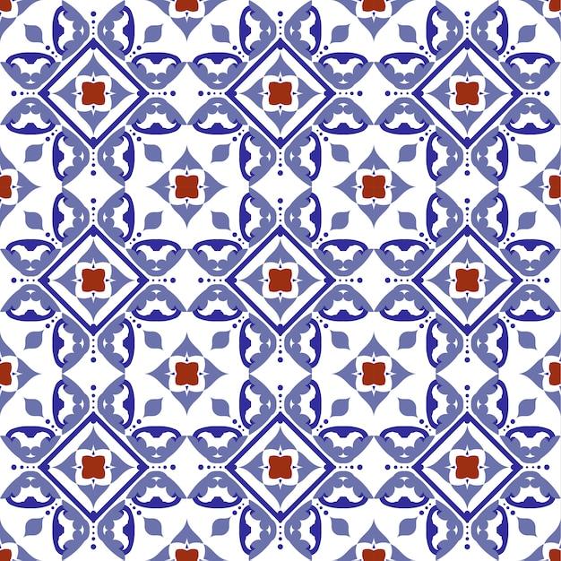 Motif de tuile, céramique carrelée avec patchwork coloré de style turc Vecteur Premium