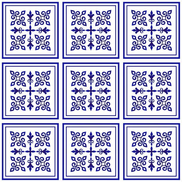 Motif de tuile, motif décoratif en porcelaine, décor floral bleu et blanc, gros élément en céramique au centre, cadre, beau plafond damassé et de style baroque Vecteur Premium