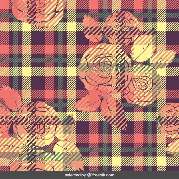 Motif vichy coloré avec des fleurs Vecteur gratuit