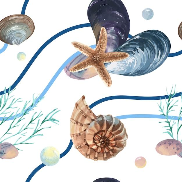 Motif de la vie marine coquille de mer sans soudure, été de vacances de voyage sur la plage Vecteur gratuit