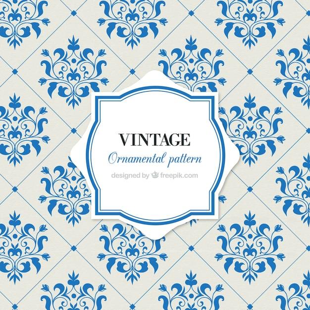 Motif vintage de carreaux avec des fleurs Vecteur gratuit
