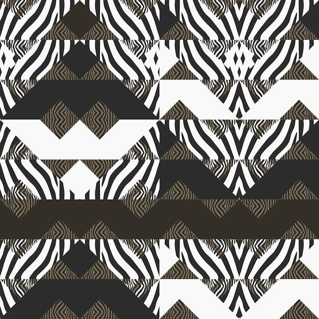 Motif de zèbre avec abstrait géométrique Vecteur Premium