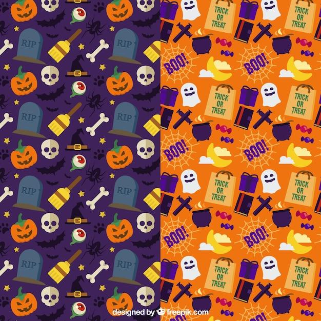 Motifs Colorés Avec Des Articles D'halloween Vecteur gratuit