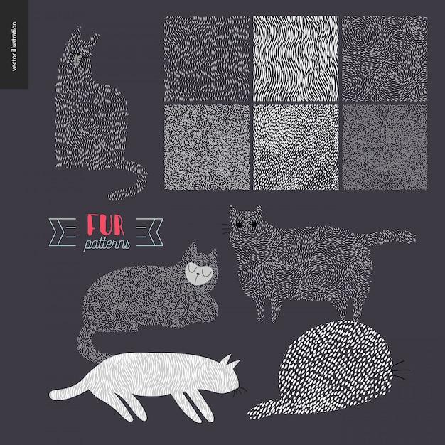 Motifs dessinés à la main avec des chats Vecteur Premium