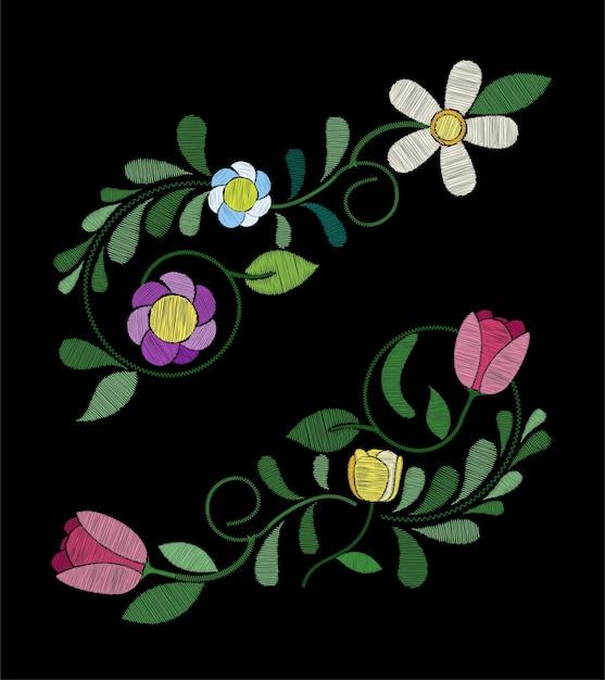 Motifs De Fleurs De Tulipes à Broder Vecteur Premium