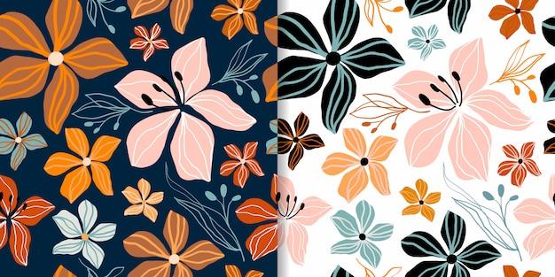 Motifs Floraux Abstraits Sans Couture Sertis De Formes Décoratives Découpées, Design Branché Vecteur Premium