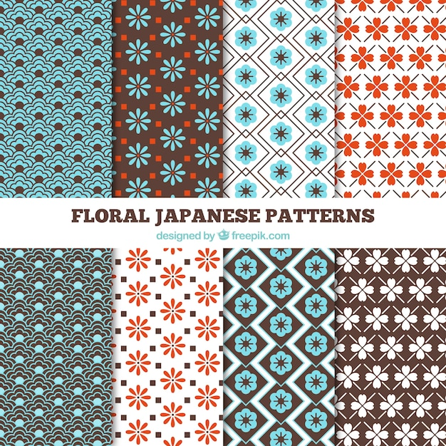 motifs floraux japonais couleur