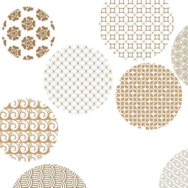 Des motifs géométriques dorés forment des cercles sur blanc avec un masque d'écrêtage Vecteur Premium