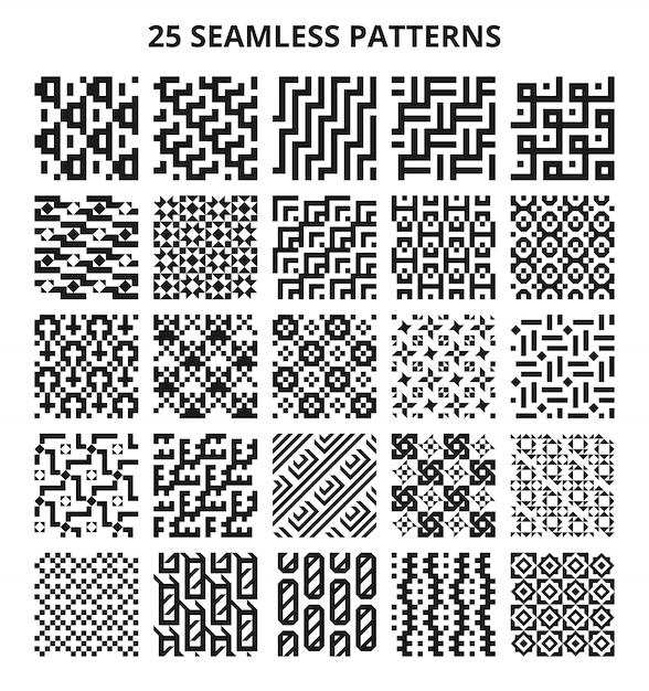 Motifs géométriques sans soudure monochromes. bordures répétitives de lignes vectorielles abstraites fractales Vecteur Premium