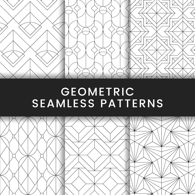 Motifs géométriques sans soudure noirs sur fond blanc Vecteur gratuit