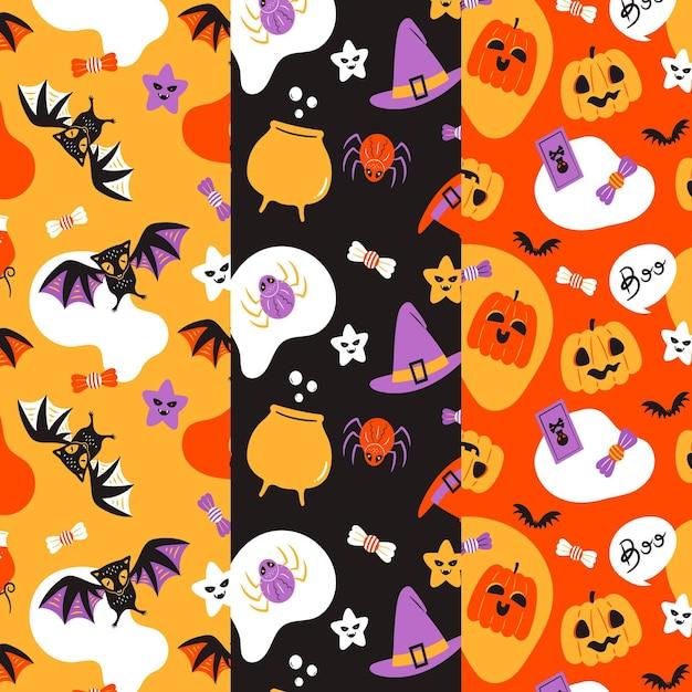 Motifs D'halloween Au Design Plat Vecteur Premium