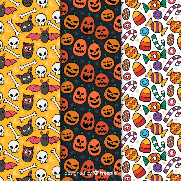 Motifs d'halloween avec des dessins Vecteur gratuit