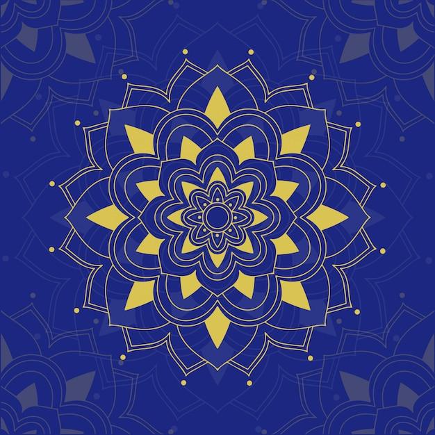 Motifs Mandala Sur Fond Bleu Vecteur gratuit