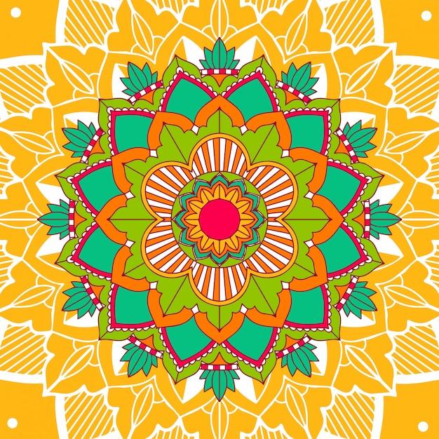 Motifs De Mandala Sur Jaune Vecteur gratuit
