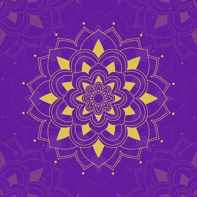 Motifs De Mandala Sur Violet Vecteur gratuit
