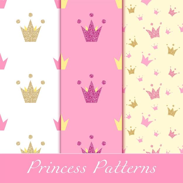 Motifs princesse avec des couronnes dorées et roses scintillantes Vecteur Premium