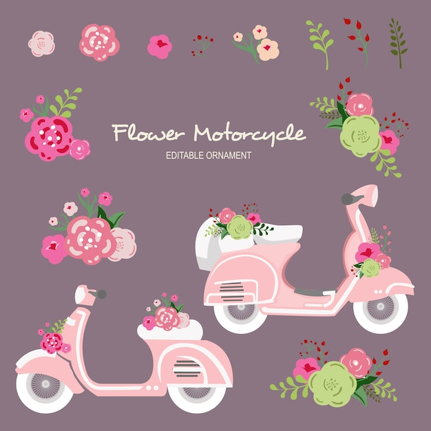 Moto de fleur Vecteur Premium