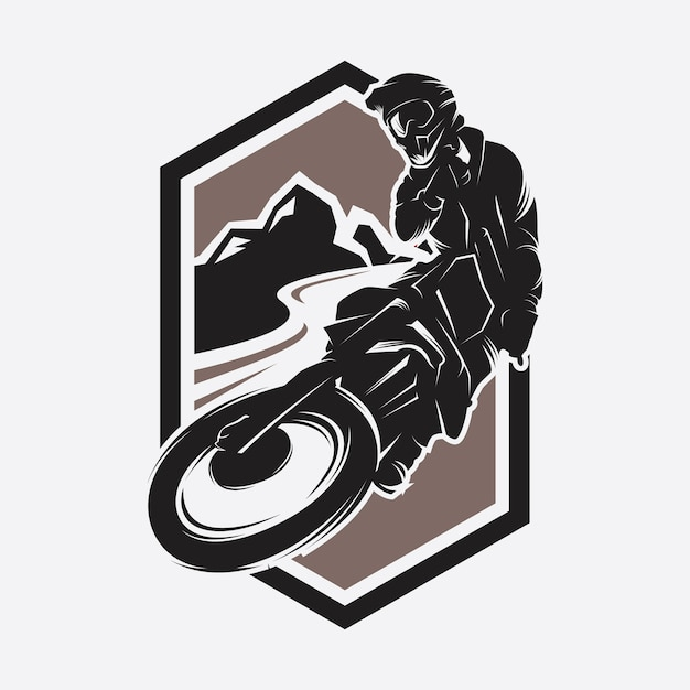 Moto track ou motocross jump logo Vecteur Premium