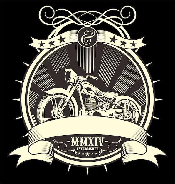 Moto vintage. dessin de main de vecteur Vecteur Premium