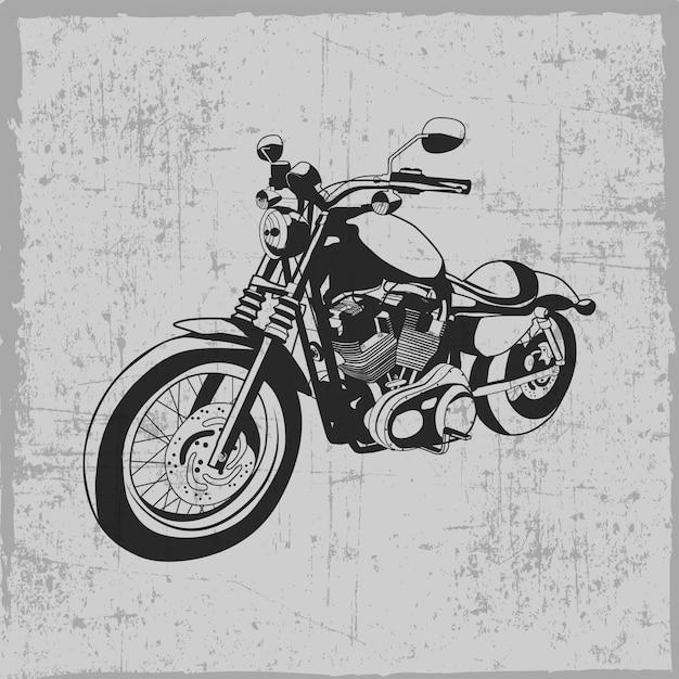 Moto Vintage Dessinée à La Main Vecteur Premium