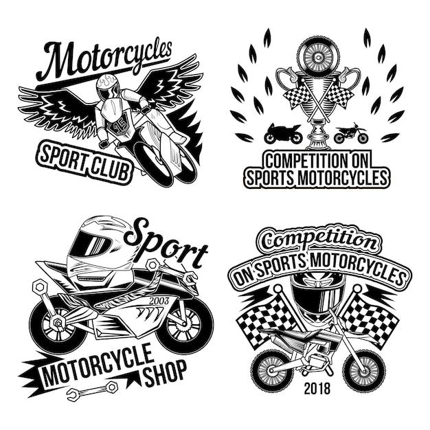 Motoclub Sertie D'images Monochromes Isolées De Pièces De Moto Roues Accessoires Motards Et Drapeau De Course De Finition Vecteur gratuit