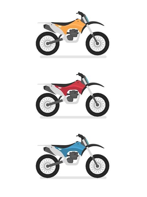 Motocross, Enduro, Moto Cross. Vue Latérale, Profil. Style De Dessin Animé Plat Vecteur Premium