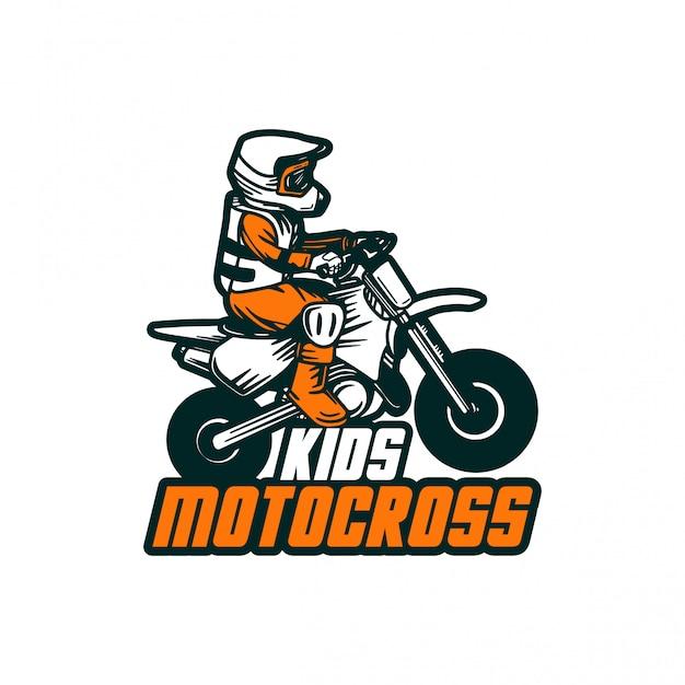 Motocross Enfants Design Vecteur Badge Autocollant Patch Logo Vecteur Premium