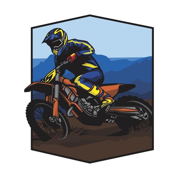 Motocross en vecteur de course de montagne Vecteur Premium