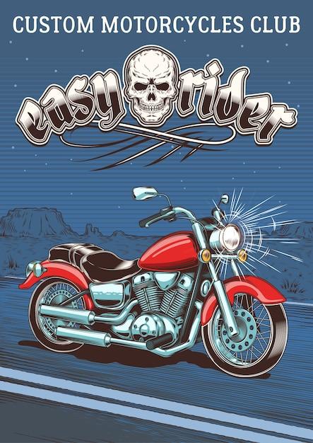 Motocyclette Vintage Sur Le Fond Du Désert Nocturne Vecteur gratuit