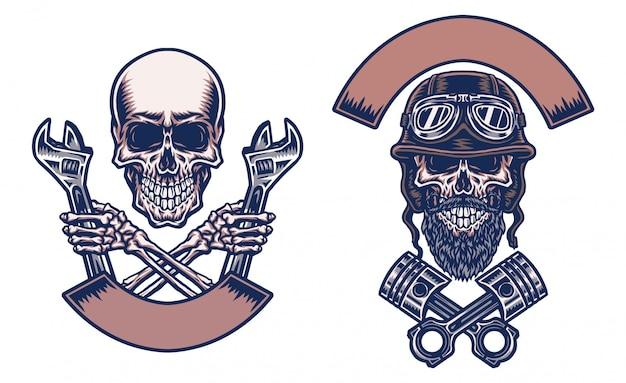 Motos De Crânes, Ligne Dessinée à La Main Avec Couleur Numérique, Illustration Vecteur Premium