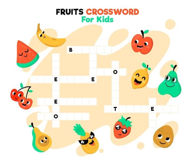 Mots Croisés En Anglais Avec Fruits Vecteur Premium