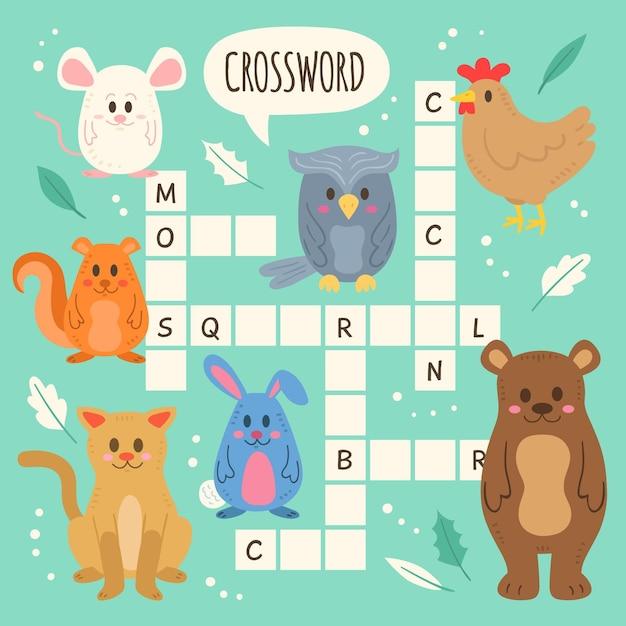 Mots Croisés En Anglais Pour Les Enfants Avec Des Animaux Vecteur gratuit