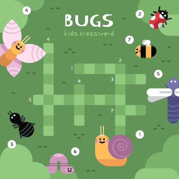 Mots Croisés En Anglais Pour Les Enfants Avec Des Insectes Vecteur gratuit