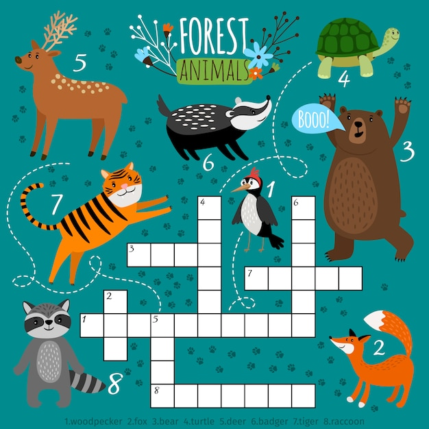 Mots croisés animaux imprimables. jeu de quiz puzzle préscolaire, apprendre l'anglais enfants casse-tête avec des animaux de la forêt, illustration vectorielle Vecteur Premium