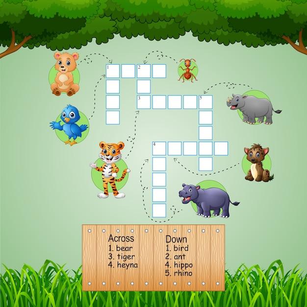 Mots croisés animaux pour jeux d'enfants Vecteur Premium