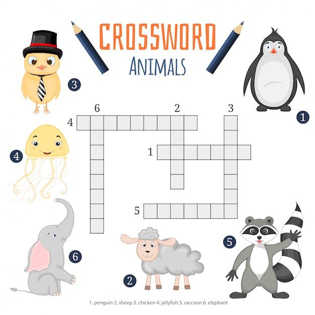 Mots croisés: couleur, jeu d'éducation pour les enfants sur les animaux Vecteur Premium