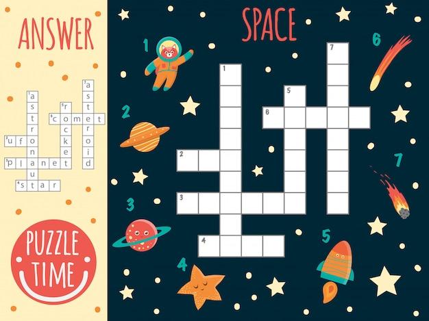 Mots Croisés De L'espace. Quiz Lumineux Et Coloré Pour Les Enfants. Activité De Puzzle Avec Ovni, Planète, étoile, Astronaute, Comète, Fusée, Astéroïde Vecteur Premium