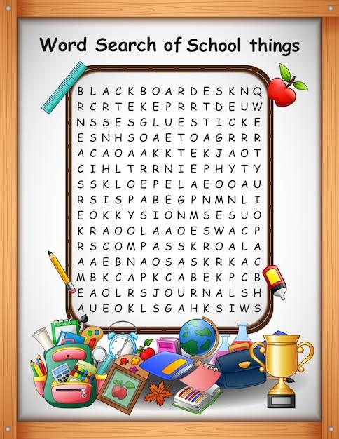 Mots croisés mot trouver des choses scolaires pour les jeux d'enfants Vecteur Premium