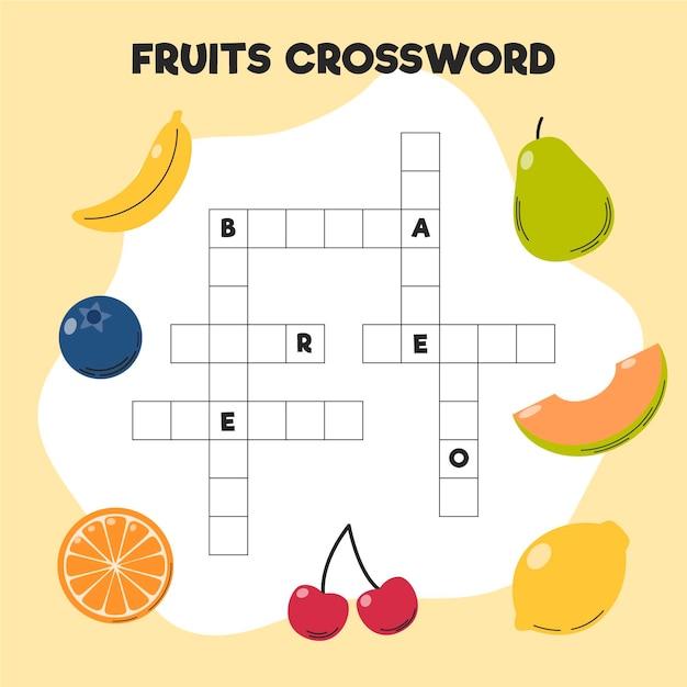 Mots Croisés Avec Des Mots Anglais Pour Différents Fruits Vecteur gratuit
