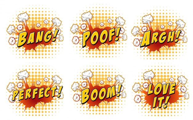 Mots sur l'explosion des nuages illustration Vecteur gratuit