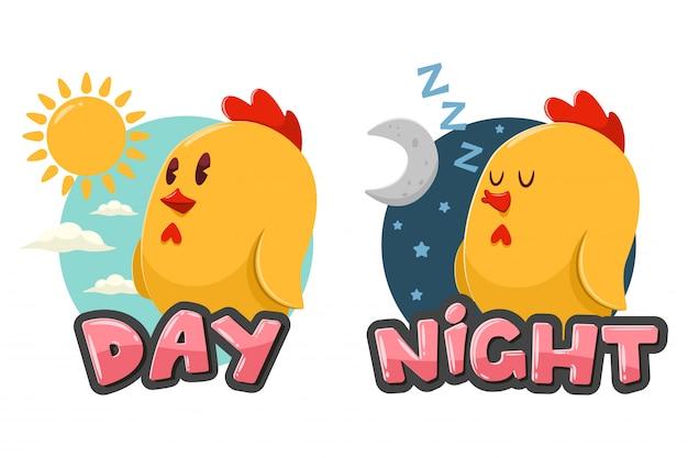 Mots Opposés Jour Et Nuit. Illustration De Dessin Animé Avec Poulet Drôle,  Soleil Et Lune Isolé Sur Fond Blanc. | Vecteur Premium
