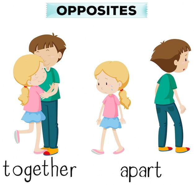 Des mots opposés pour ensemble et à part Vecteur gratuit