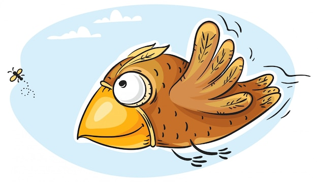 Mouche capture d'oiseau Vecteur Premium