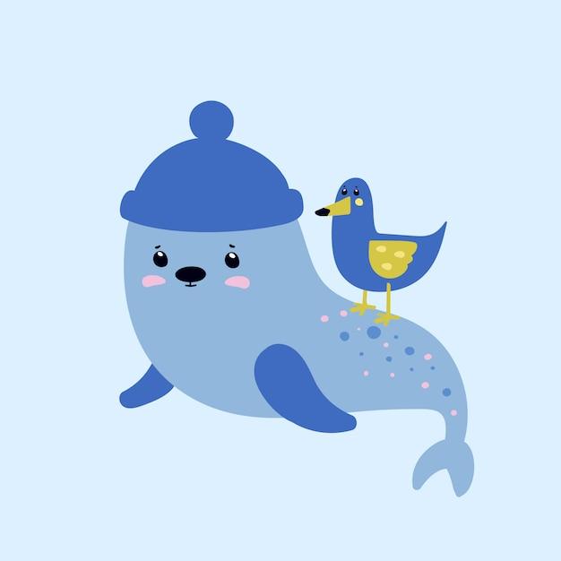 Mouette et un phoque. animaux marins Vecteur Premium