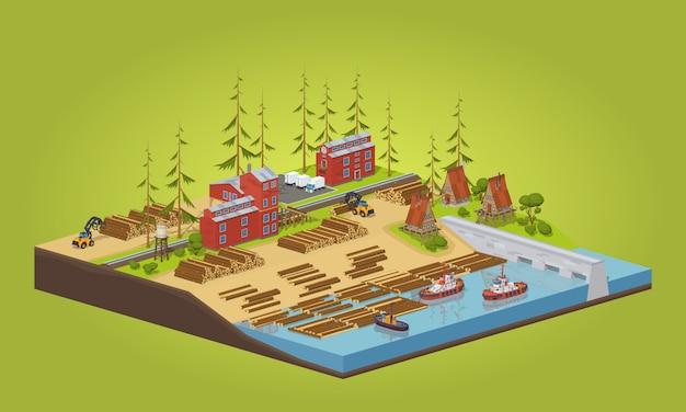 Moulin à bois isométrique 3d lowpoly près de la rivière Vecteur Premium