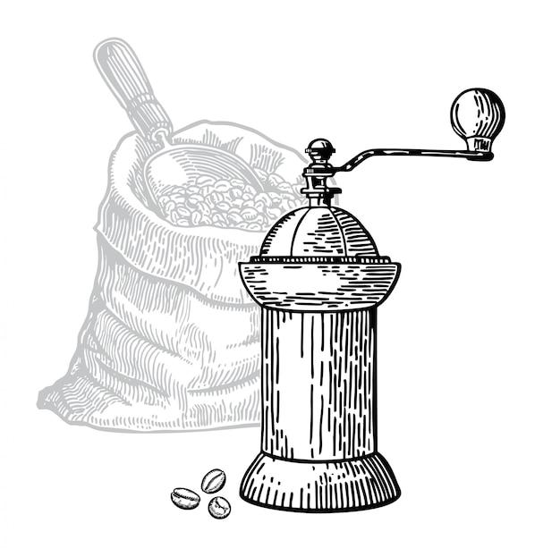 Moulin à café sketch grains de café dans un sac Vecteur Premium