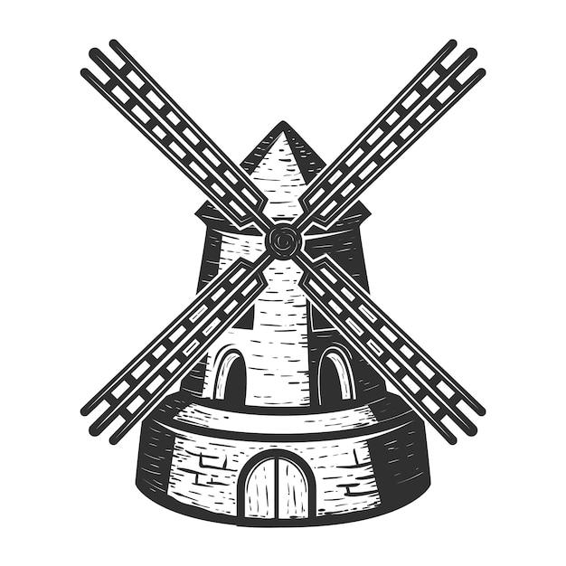 Moulin à Vent Sur Fond Blanc. éléments Pour, étiquette, Emblème, Signe, Marque. Illustration Vecteur Premium