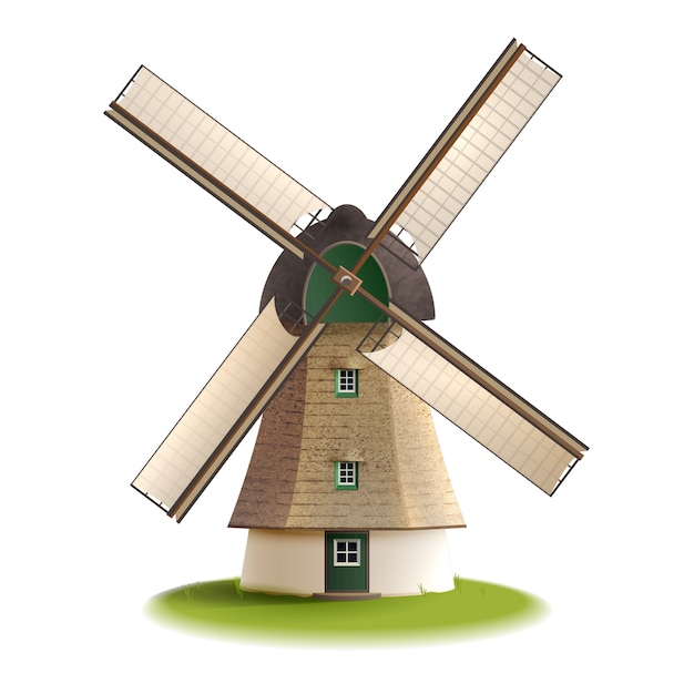 Moulin à vent peint en couleur Vecteur gratuit