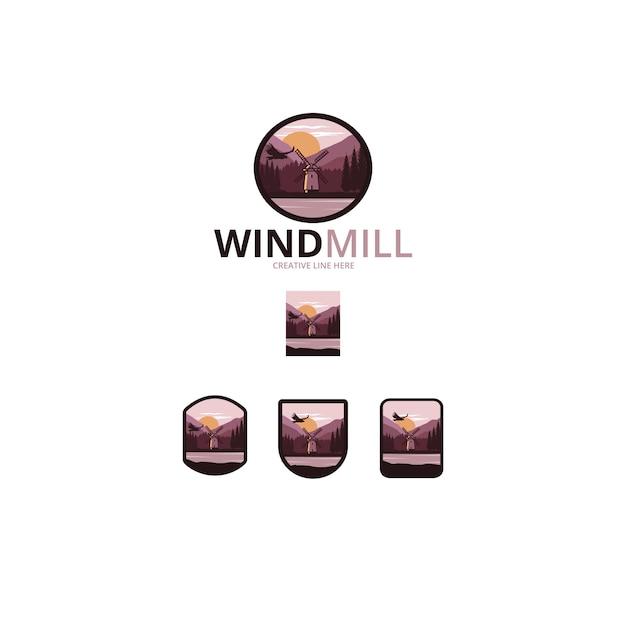 Moulin à vent Vecteur Premium